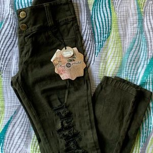 Army fatigue distressed ripped jeans new with tags